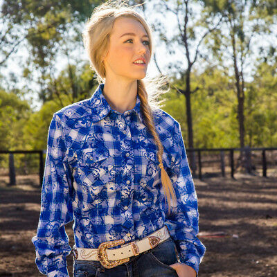 New  100% Cotton - Bombala Blue  4016N Ladies Western Riding Shirts Brigalow