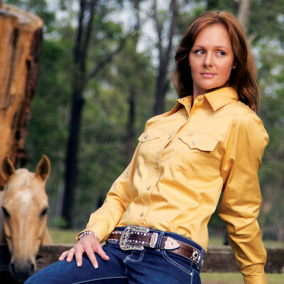 New  100% Cotton Solid Colour 4104-E-Sand Ladies Western Riding Shirts Brigalow