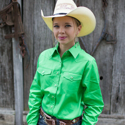 New  100% Cotton Solid Colour 4104-L-Lime Ladies Western Riding Shirts Brigalow