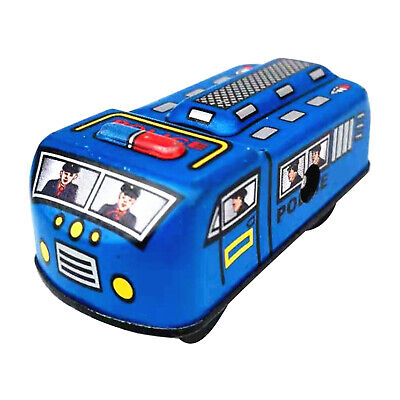 Vintage Wind up Police Car with Key Clockwork Metal Tin Toy Collectible Gift