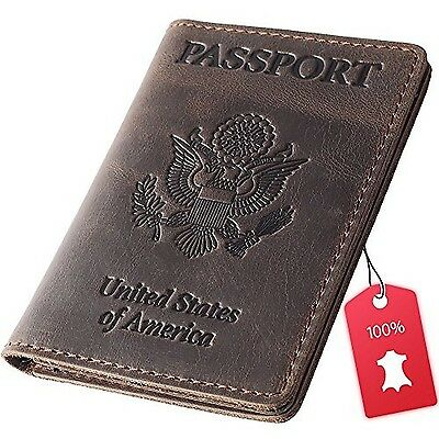 Rachiba Leather Passport Holder  Travel Wallet Cover Case for Men & Women New