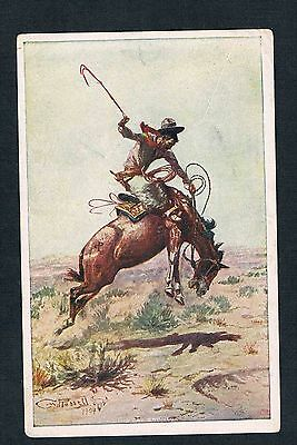 1904 Charles M. Russell A Bad Bronco Post Card