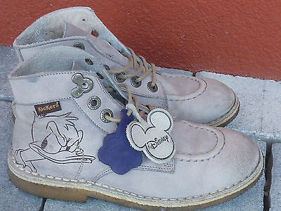 vintage CHAUSSURES KICKERS DONALD disney wd MICKEY taille 35 boots LEATHER cuir