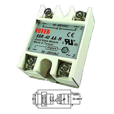 Output 90-480VAC SSR 40AA-H 40A AC-AC Fotek Solid State Relay for Arduino