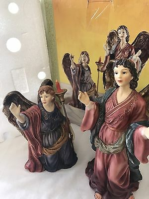Grandeur Noel Collectible Angel Set Hand painted Excellent Condition
