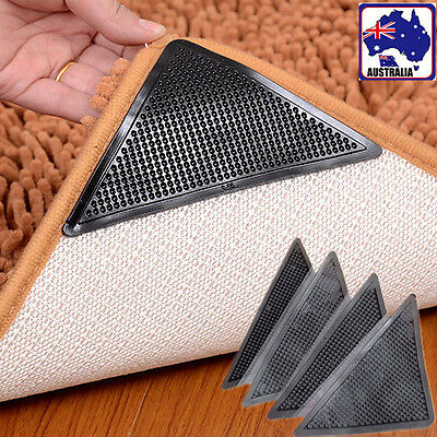 4pcs PU Non Slip Rug Carpet Mat Grippers Corners Reusable Anti Skid HCAR64505x4