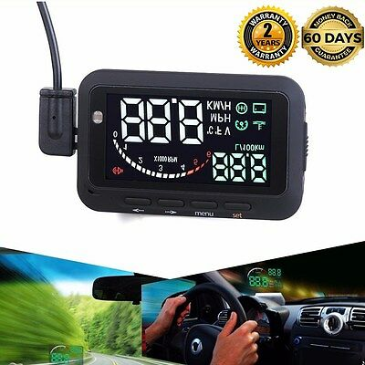 Car OBD2 LED HUD Head Up Display Fuel Sonsumption Mileage Over Speed Warning NEW