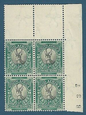 Union of South Africa. 1933 SG54 Corner block with Sheet number. WMK INV