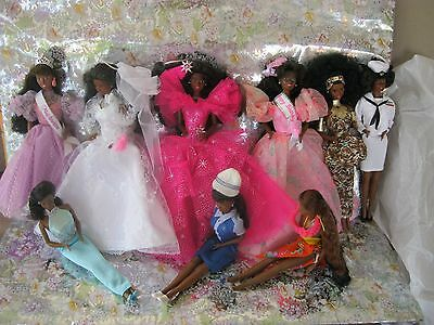 Lot of 9 Collectible African American Barbie Fantasy Bride-Holiday-Island Fun