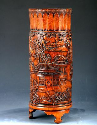 Chinese Bamboo Hand-Carved House & Tree Brush Pot DY103