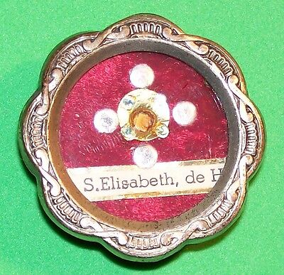 Antique Saint Elizabeth Of Hungary 1St Class Relic Old Silver Tone Theca Pendant