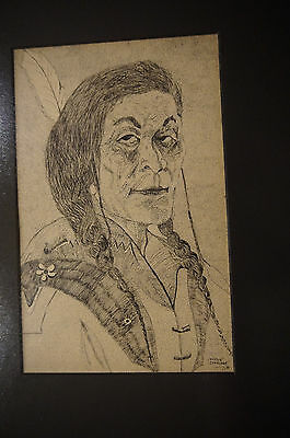 American native Indian woman portrait framed sketch drawing strong wise Cahuilla