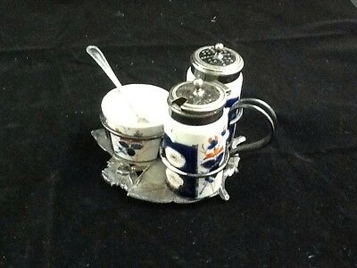 Porcelain and Silver Plate(?) Condiment Set with Stand