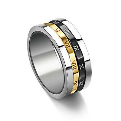 Men Fashin Gold Rome Gothic Retro Punk character stainless steel Hot Men rings A