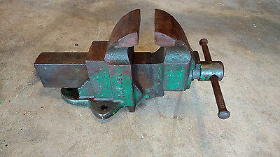 """Vintage Chas. Parker No 954 Heavy Duty Fixed Base 4"""" Jaws Bench Vise Made USA"""