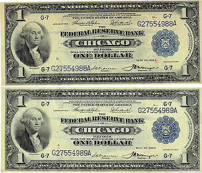 Chicago, Chicago Sequentially Serial Numbered Pair 1918 Fr National $1 Banknotes