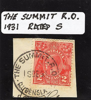 Queensland Postmark 1931 The Summit R.O (Railway) complete on George V rated S