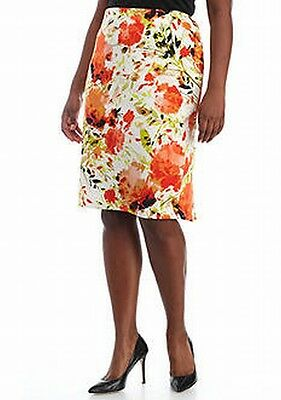 Kasper NEW Orange Womens Size 16W Plus Floral Print Stretch Knit Skirt $96 142