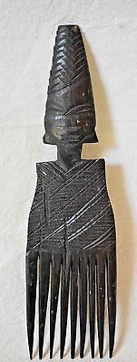 Vintage Hand carved African COMB wooden woman's head detailed 9 teeth