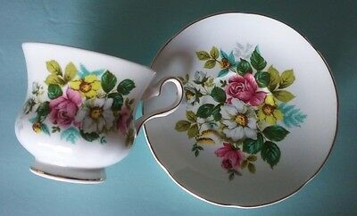 Royal Grafton Floral Bouquet Montrose Style Gold Trim Teacup and Saucer