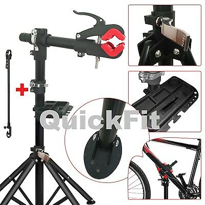 Quick Fit Bike Repair Work Stand With Bonus Tool Tray For Home Bicycle Mechanic