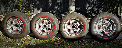 Valiant/charger/770 Sports Wheels & Tyre Set X 4 Restored & Tyres Like New!