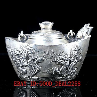 Vintage Silver Copper Hand Made Dragon&Phoenix Teapot With Qing Dynasty Mark