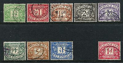 GB GREAT BRITAIN. GV sg d1-d9 POSTAGE DUE F/USED CDS SET