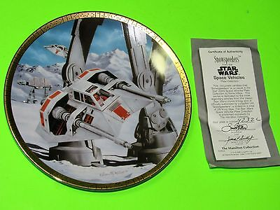 Star Wars Snowspeeder Space Vehicles Collector Plate With Box NEW w/COA