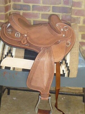Competitor Drafter face chocolate leather inlay seat 13 inch stock fender saddle