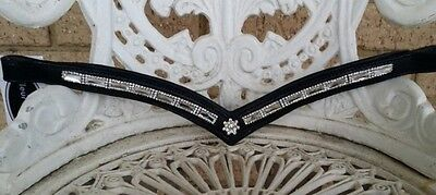 Browband black leather padded silver crystals
