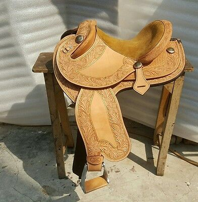 Texas Tea Embossed camp drafter trophy saddle 8091