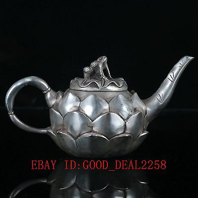 Chinese Silver Copper  Handwork Carved Lotus Teapot & Frog Lid BT009