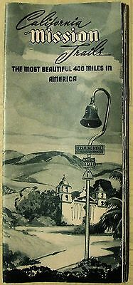 1947 Most Beautiful 400 Miles in America CALIFORNIA MISSION TRAILS booklet map