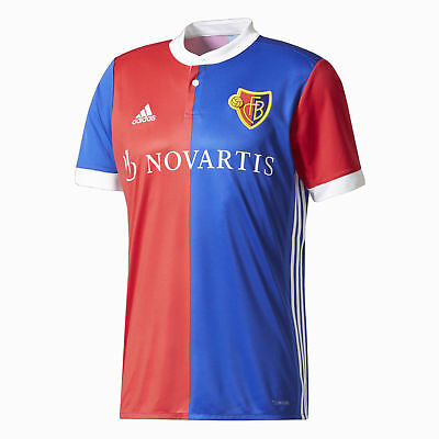 Adidas Mens Football FC Basel Home Replica Jersey Shirt Top 2017 2018 Blue Red W