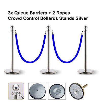 3x Queue Barriers + 2 Ropes Crowd Control Bollards Stand (Silver with Blue ROPE)