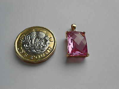 LARGE STUNNING 9CT GOLD PINK TOPAZ & DIAMOND PENDANT 3.3g 3.3 grams