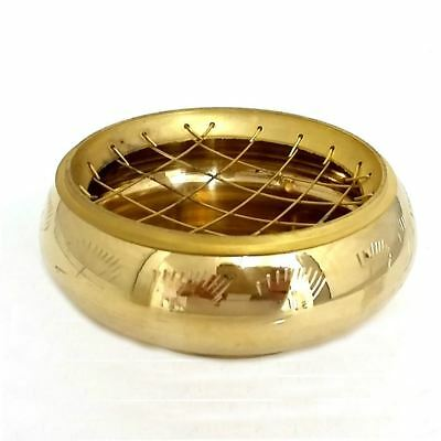 Brass Charcoal Burner With Etching - Incense Resin Censer - Great Quality