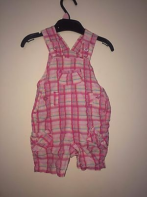 M&S Baby Girls Pink Check Dungarees **3-6month**