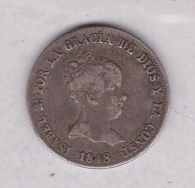 1848 Cl Silver 4 Reales From Spain In Good Fine Condition