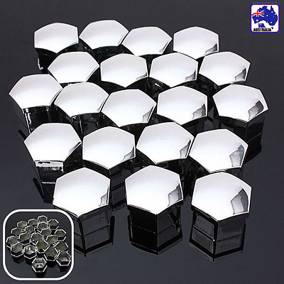 Pack 20 Chrome Car Wheel Bolt Nut Covers Caps 17mm HEX w/ Removal Tool VVAL66701