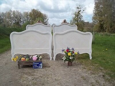 Antique Pair Of French Louis Xv Revival Bedsteads 1900/beautiful Carved Pediment
