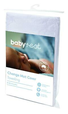 BabyRest Deluxe Towelling Change Mattress Cover Boori (White) - 800 x 480mm Baby