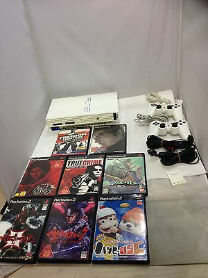 Japanese Playstation2 SCPH-55000 GT Ceramic White Console PS2 w/ 8 game softs