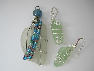 Artisan Pendant Earrings - Turquoise Beach Glass Beads & Sterling Wire Wrap