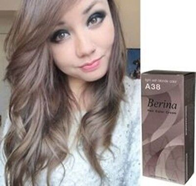 Berina Hair Dye Color A38 Light Ash Blonde Color Permanent Cream Unisex