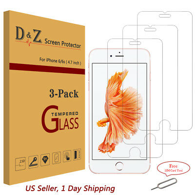 Lot 3PK Premium Real 9H Tempered Glass Screen Protector for iPhone 6/6s/7/8 Plus