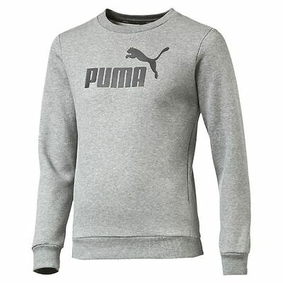Puma Kids Boys Fleece Sports Athletic Crew Neck Sweater Sweatshirt Top Grey