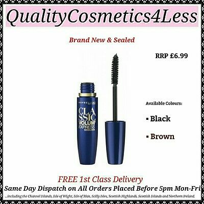 Maybelline Classic Volum' Express Mascara Black / Brown - Sealed + FREE Delivery