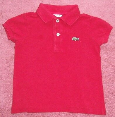 Lovely Unisex/boys/girls  Red S/s Polo Shirt - Lacoste - Age 2
